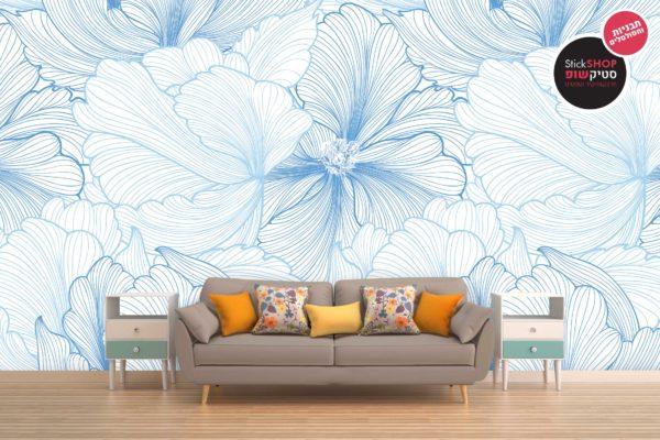 סטיק שופ - טפט פרח ווקטורי כחול