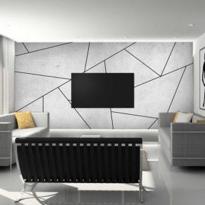 סטיק שופ - טפט גאומטרי - בטון לבן פסי שחור