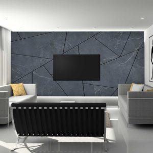 סטיק שופ - טפט גאומטרי - בטון כחול פסים שחורים