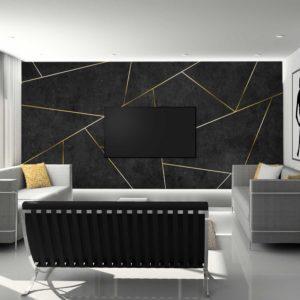 סטיק שופ - טפט גאומטרי - בטון שחור פסי זהב