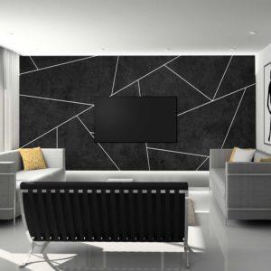 סטיק שופ - טפט גאומטרי - בטון שחור פסים לבנים