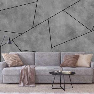 סטיק שופ - טפט גאומטרי - בטון אפור פסים שחורים