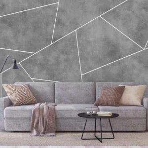 סטיק שופ - טפט גאומטרי - בטון אפור פסים לבנים