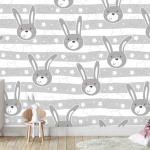 טפטים לחדרי ילדים - ארנבים וכוכבים