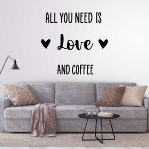 סטיקשופ - מדבקות קיר - Love and coffee