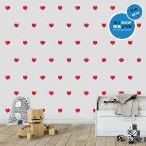סטיקשופ - מדבקות קיר - טפט ברגע - לבבות אוריגמי