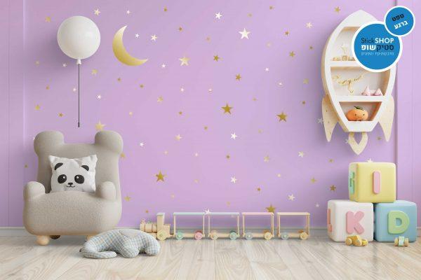 מדבקות קיר - טפט ברגע - Moon & Stars