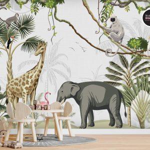 טפטים לחדרי ילדים - ג'ונגל חיות טרופי