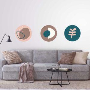מדבקות קיר - עיגולים בצבעים חמים